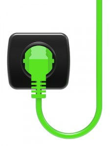 Green electric plug and power outlet